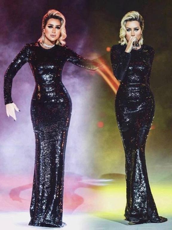 فستان ترتر براق باللون الأسود اختارته مايا دياب