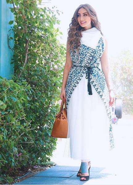 فستان ذو طابع شرقي اختارته نور الغندور