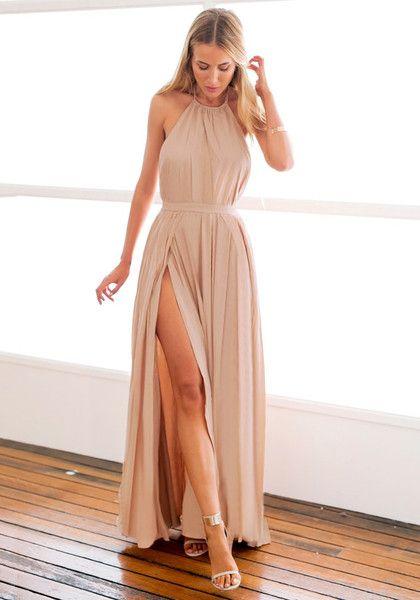 فستان بلون النيود