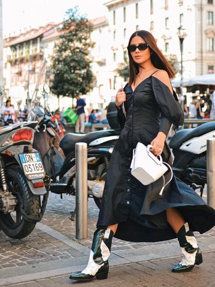 ديما الأسدي في لوك شبابي في الفستان الأسود