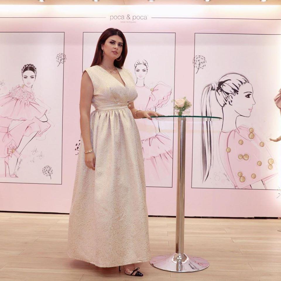 فستان باللون البيج اختارته سلمى رشيد لاحدى المناسبات