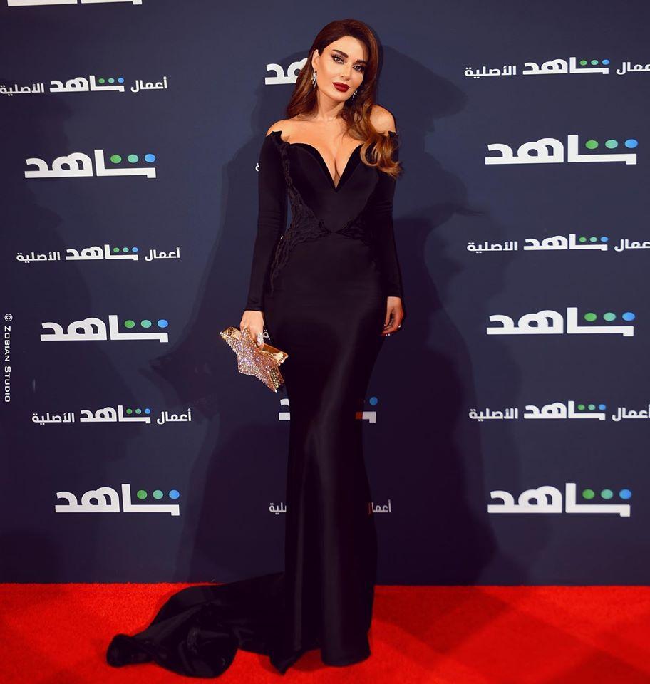 فستان باللون الأسود من نيكولا جبران اختارته سيرين عبد النور