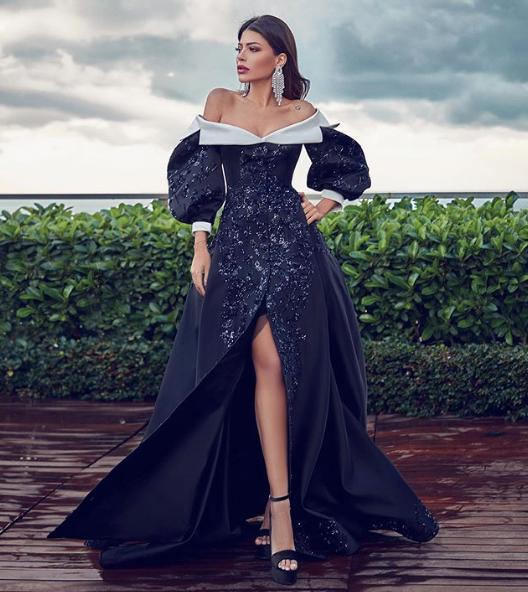 فستان فاخر باللون الأسود اختارته العنود بدر