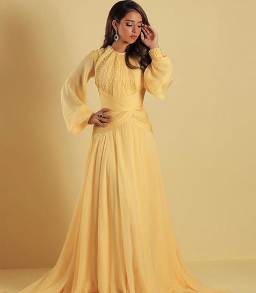 فستان أصفر من جورج حبيقة تألقت به بلقيس فتحي