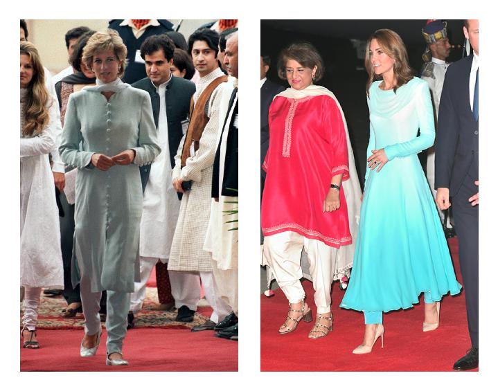 فستان أزرق مميز اعتمدته كايت ميدلتون في الباكستان استوحته من الليدي ديانا