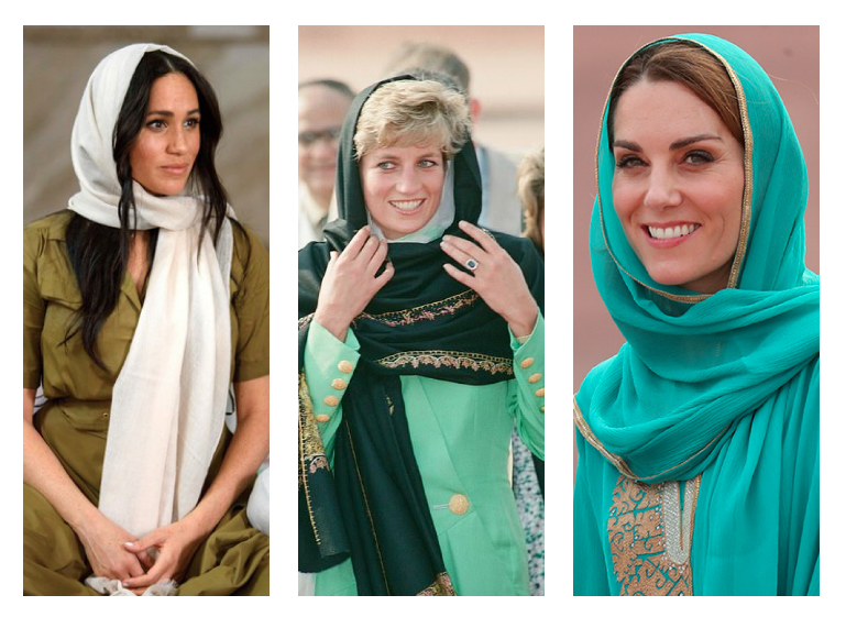 في النص الحجاب كما اعتمدته نساء العائلة المالكة البريطانية