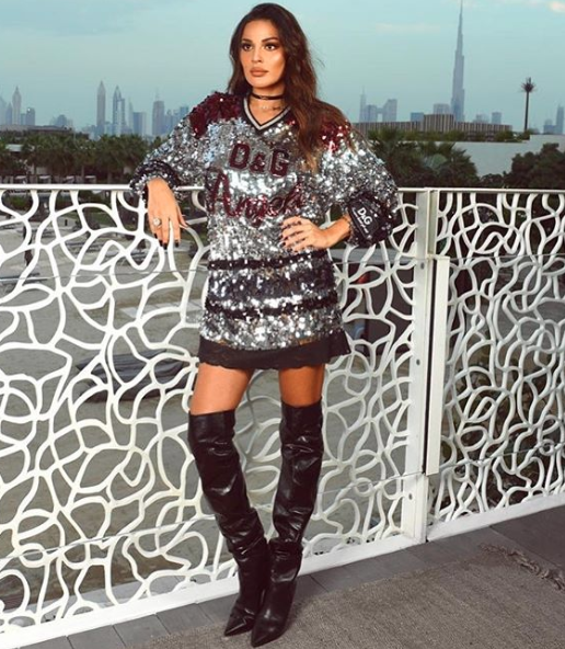 نادين نجيم في فستان قصير من الترتر