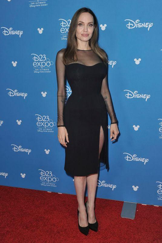 أنجلينا أنيقة في فستان ميدي باللون الأسود