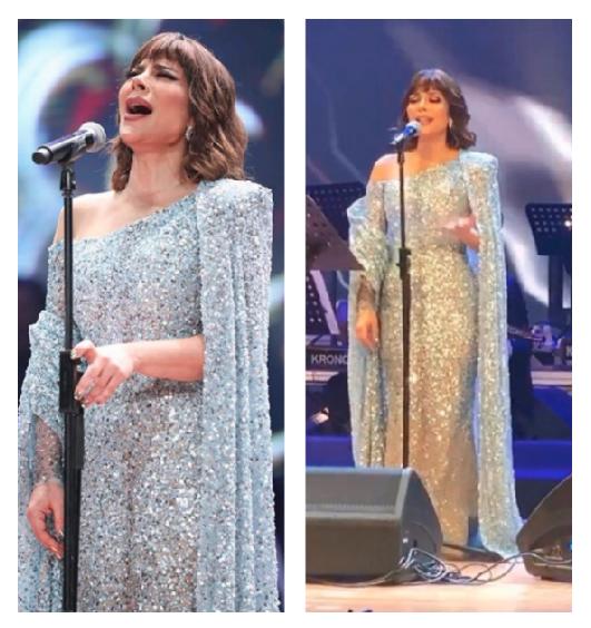 اصالة نصري في فستان براق باللون الفضي
