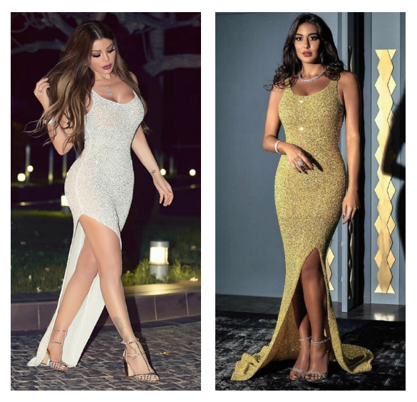 ياسمين صبري وهيفاء وهبي في فستان من يوسف الجسمي
