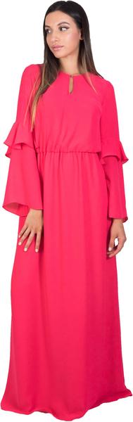 - فستان وردي بأكمام طويلة فضفاضة من كوكا
