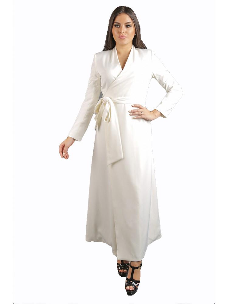 -فستان أبيض ماكسي بحزام على الجنب من جاكلين باريس