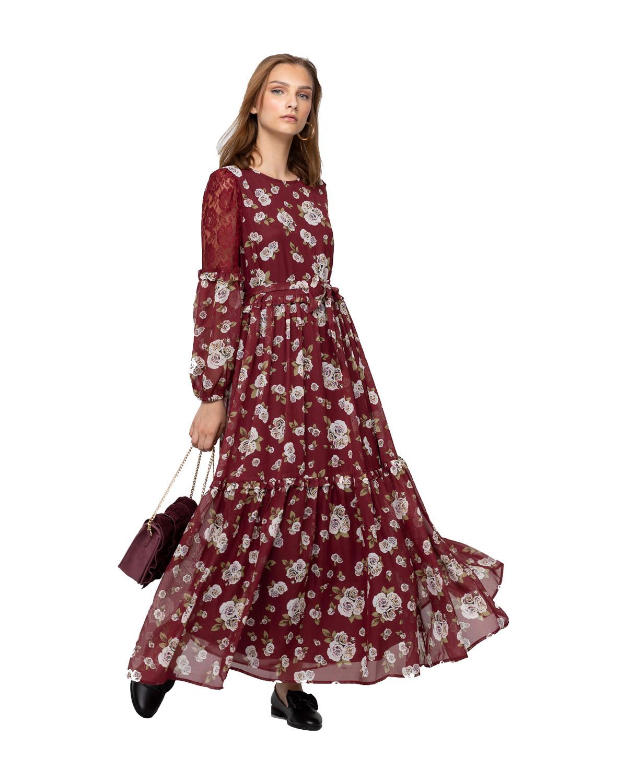 -فستان احمر من الشيفون للنساء من رينا
