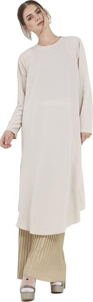 -فستان طويل من البوليستر باللون البيج والذهبى من تاتش بريفي