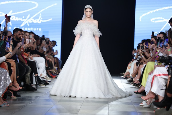 فستان من تصميم رامي قاضي خلال اسبوع الموضة العربي