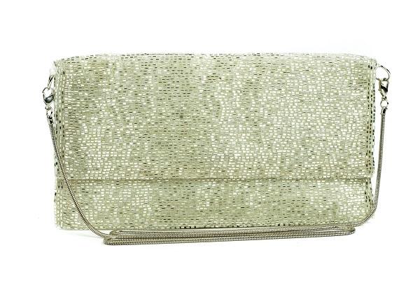 شنطة كلتش مصنوعة يدويًا باللون الفضي من بورو