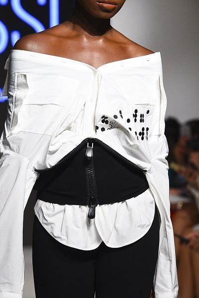 من تصميم من BLSSD خلال اسبوع الموضة العربي