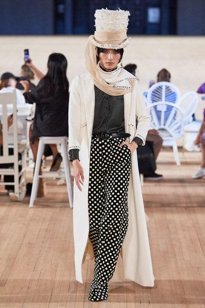 بنطلون بولكا اسود وأبيض واسع من مارك جايكوبس Marc Jacobs