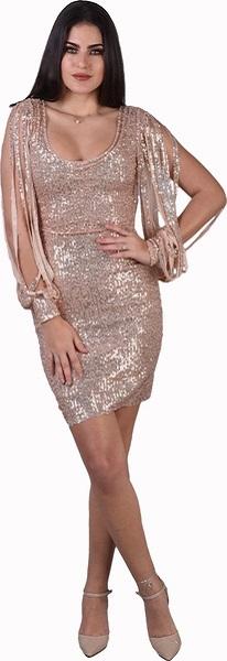 فستان قصير باللون الذهبي من جاكلين باريس