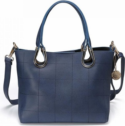 حقيبة يد نسائية من الجلد باللون الأزرق من فلنتاين كي