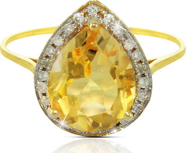 خاتم ذهب نسائي بتصميم القطرة مزيّن بالعقيق الأصفر من فيرا بيرلا Vera Perla - عيار 18 من فيرا بيرلا