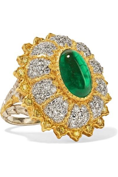 خاتم من الماس والزمرد الأخضر من بوشيلاتي BUCCELLATI