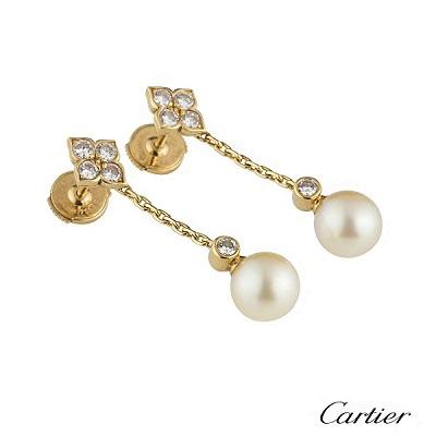 أقراط من الذهب الأصفر والماس واللؤلؤ من كارتييه Cartier