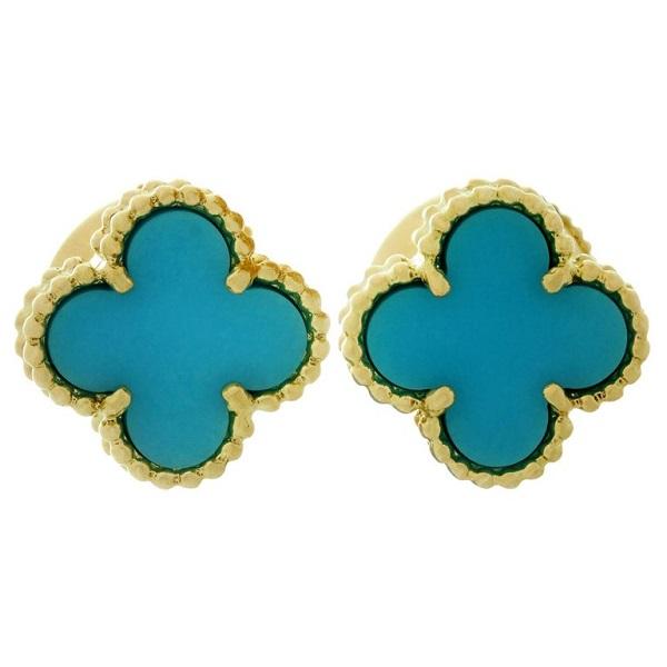 أقراط من الذهب والفيروز من فان كليف اند آربيلز Van Cleef& Arpels