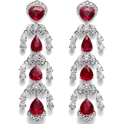 أقراط من الماس والياقوت من شوبارد Chopard