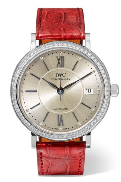 ساعة بسوار من الجلد الأحمر من آي دبليو سي IWC