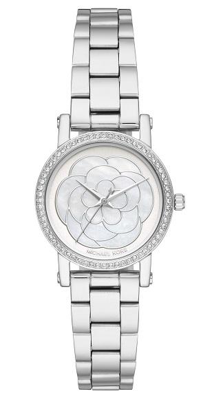 ساعة فضية رفيعة مزينة بوردة في المينا للنساء من مايكل كورس