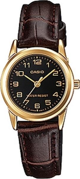 ساعة جلد بنية بإطار ذهبي من كاسيو