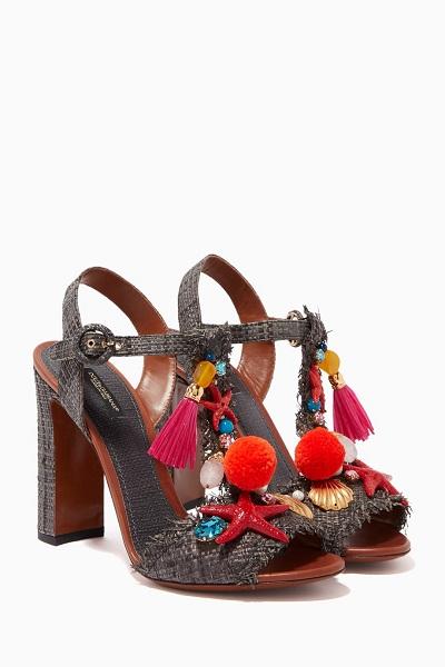 صندل من القش الملون من دولتشي ىند غابانا Dolce&Gabbana