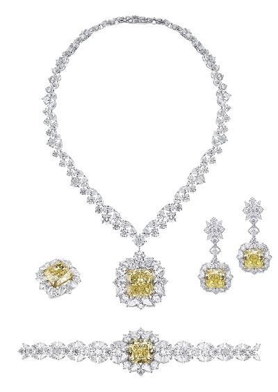طقم Cinderella من الماس الأبيض والأصفر من مجوهرات معوض Mouawad