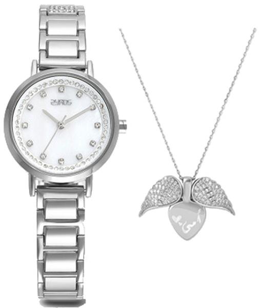 طقم ساعة وقلادة باللون الفضي للنساء من زايروس