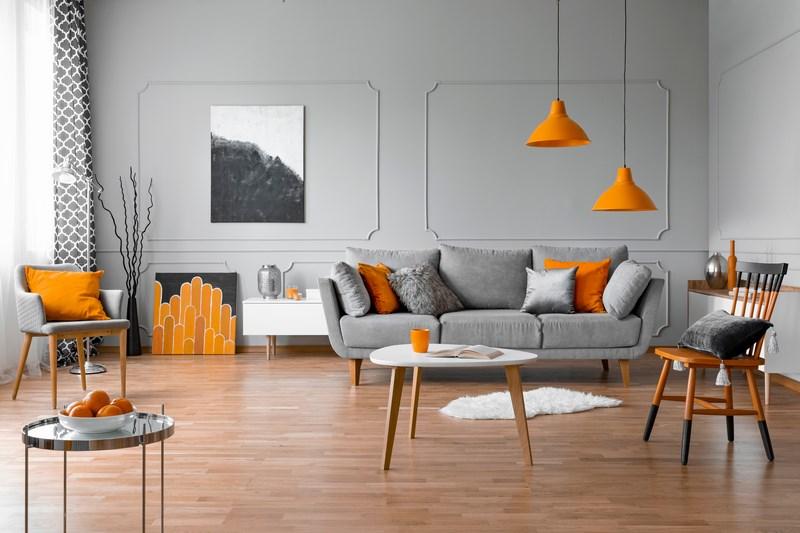 اللون البرتقالي في ديكورات غرفة الجلوس