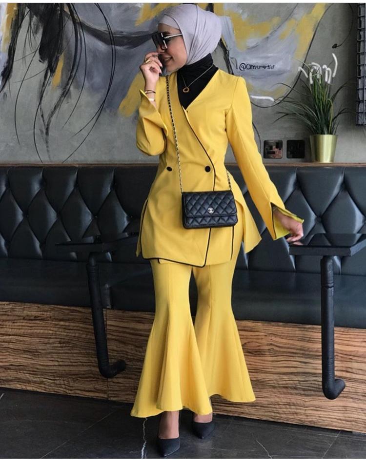 بدلة كاملة باللون الأصفر من أوشا الحازم