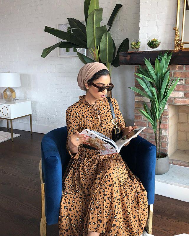 فستان برسومات جلد النمر من هاجر