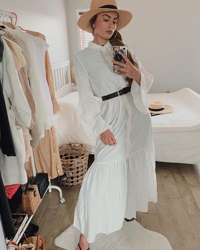 الفساتين مع الأزرار الأمامية وحزام الخصر من الفاشينيستا ظهيرة