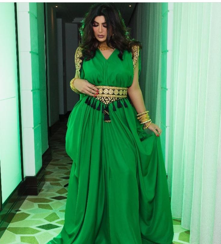 قفطان أخضر شيفون من أميرة محمد