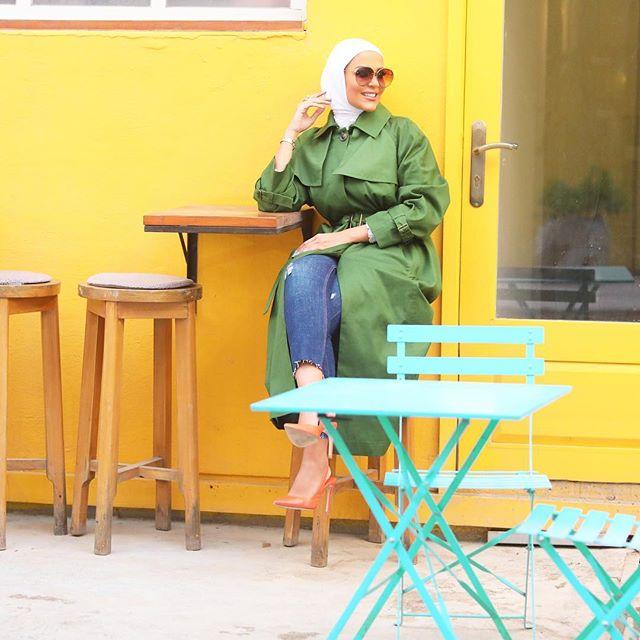 معطف الترينش الأخضر قطعة تحبها مرمر محمد