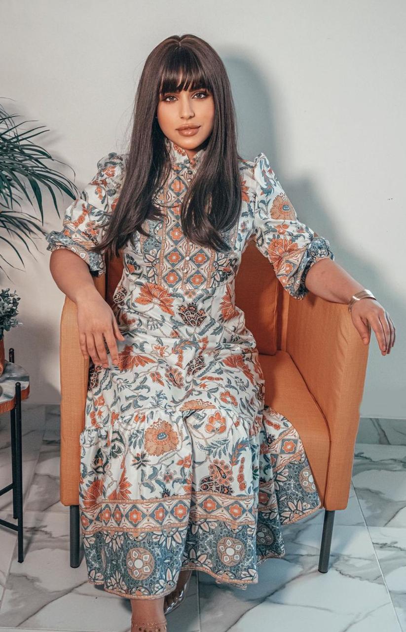 4 فستان مطبع لرمضان من شيماء سليمان -الصورة من حسابها على الانستغرام