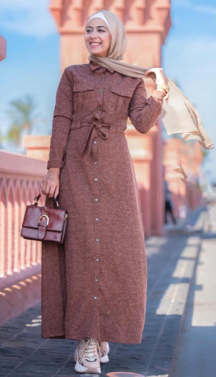 7 فستان باللون الجوزي من علا عبدالحميد -الصورة من الانستغرام