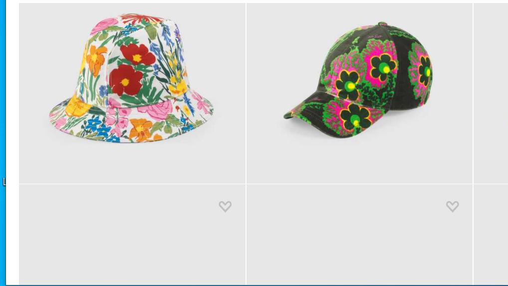قبعتان من غوتشي من القطن المطبع بالزهور الملونة - الصورة من موقع الدار الإلكتروني