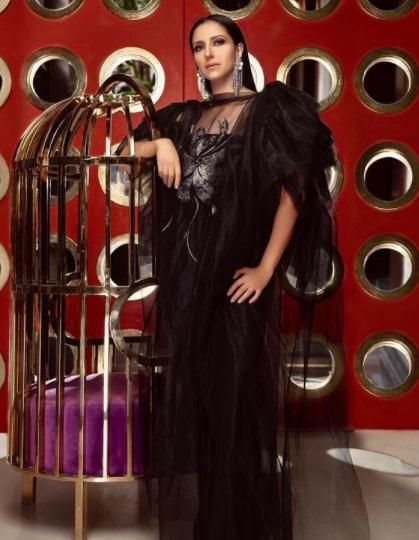 حنان مطاوع بفستان سهرة أسود من التول المنفوش-صورة 1