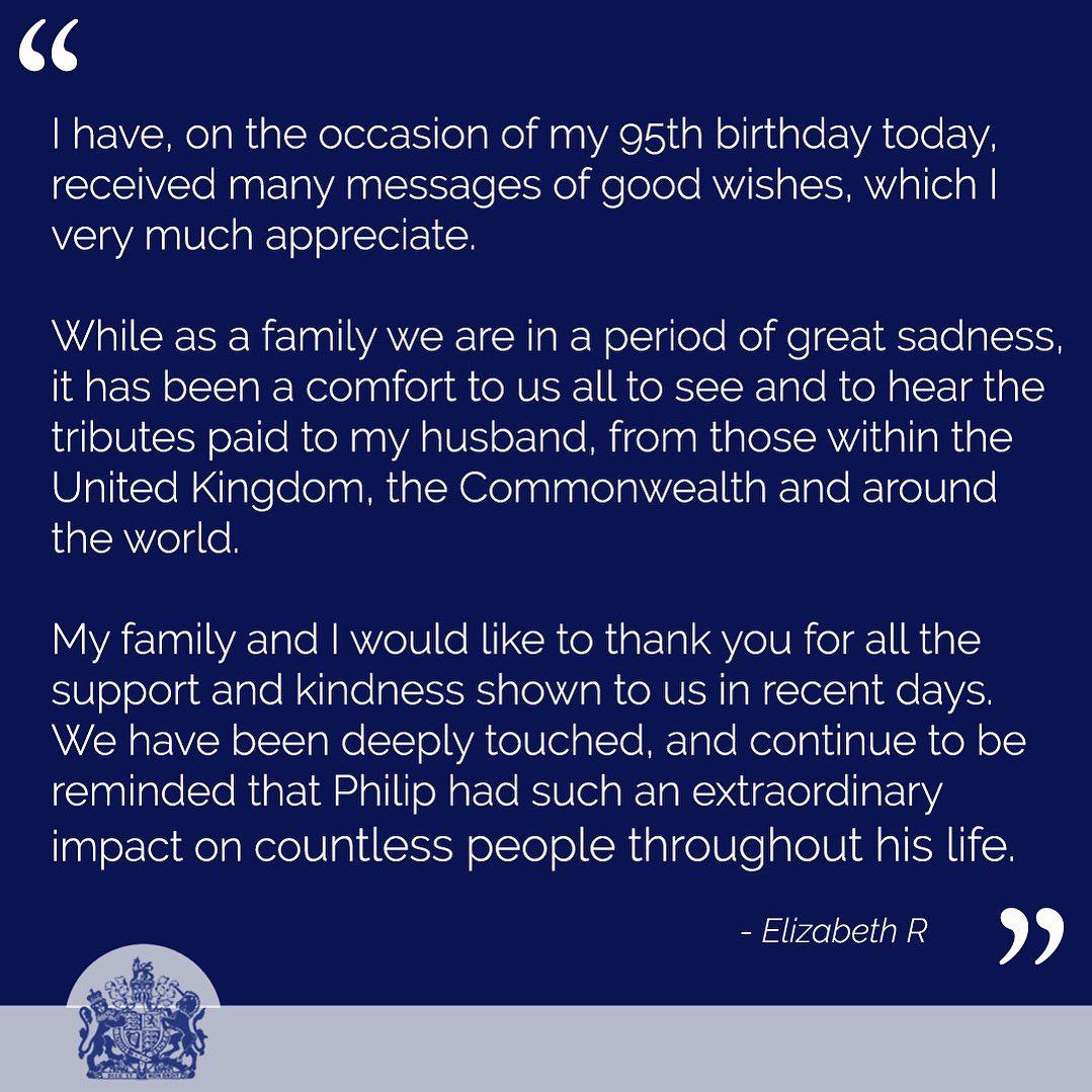 شكرت الملكة إليزابيث لليان لها كل من هنأها بعيد ميلادها وأثنى وكرم زوجها الراحل-الصورة من أنستغرام