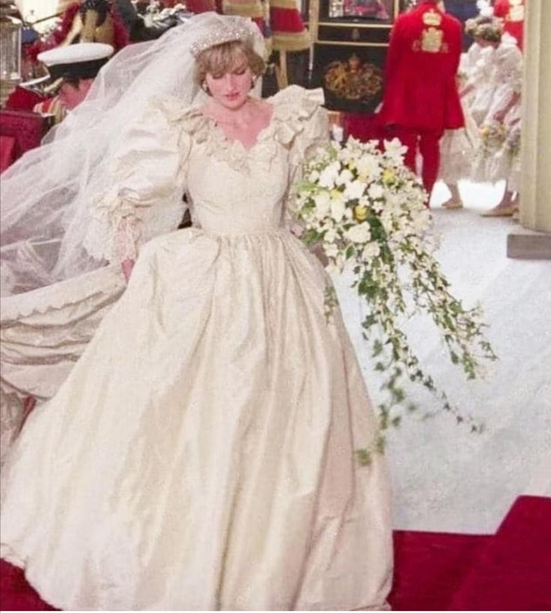 يتميز الفستان بأكمامه المنتفخة وأقواسه وفتحاته من الدانتيل- الصورة من إنستغرام