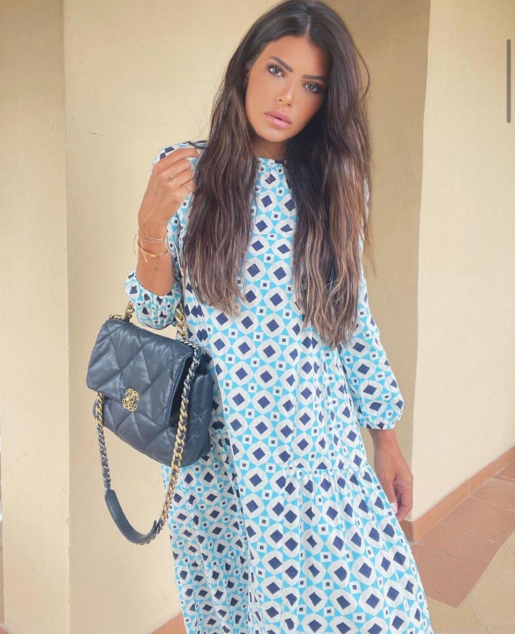 العنود بدر بفستان مطبع -الصورة من حسابها على الانستغرام