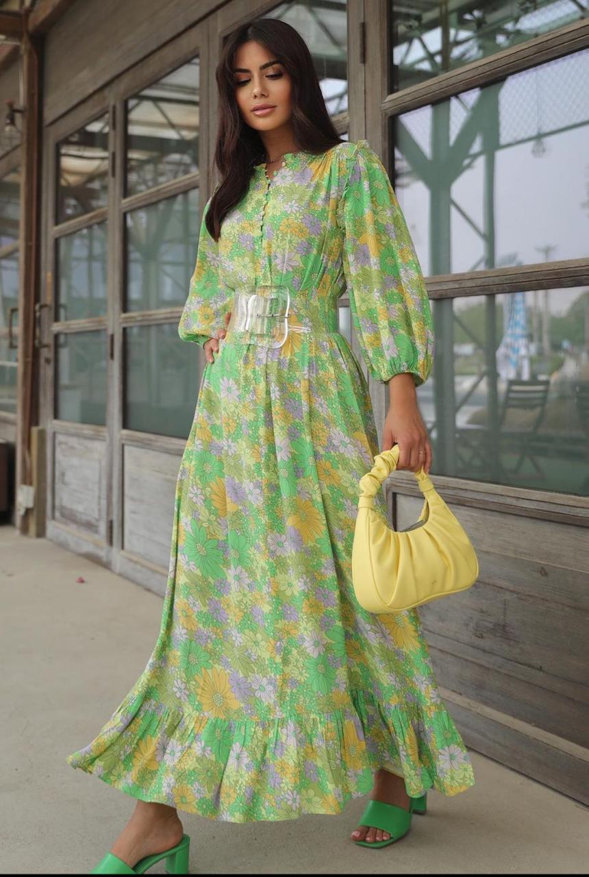 ديما الاسدي بالفستان المطبع للربيع -الصورة من حسابها على الانستغرام