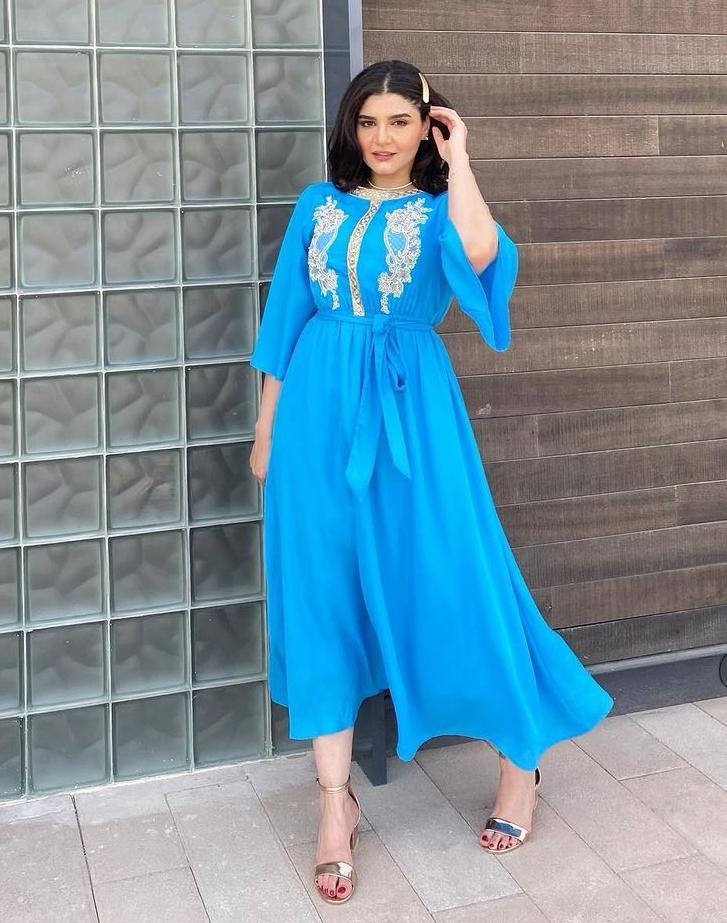 نورا محمد بفستان رمضاني مطرز - الصورة من حسابها على الانستغرام